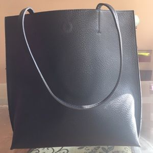 BLACK Super soft faux leather inside and out TOTE